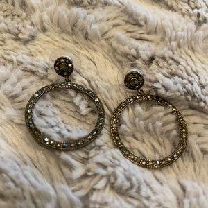 Judith Jack Marcasite Frontal Hoop Earrings